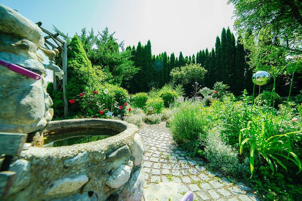 Gästehaus Huss - Blick vom Brunnen auf den Kräuter und Gemüsegarten